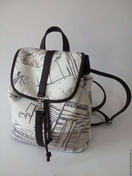 """Рюкзаки ручной работы. Ярмарка Мастеров - ручная работа. Купить Текстилый рюкзак """"Чип"""". Handmade. Чёрно-белый, подарок девушке"""