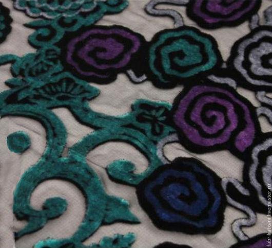 Шитье ручной работы. Ярмарка Мастеров - ручная работа. Купить Великолепный лилово-бирюзовый панбархат на шёлке.. Handmade. Ткань для шитья