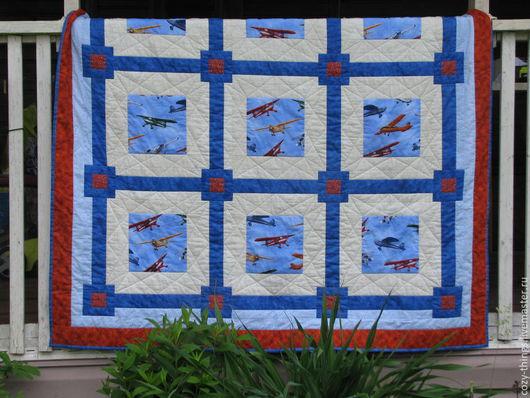 """Текстиль, ковры ручной работы. Ярмарка Мастеров - ручная работа. Купить Одеяло лоскутное """"Первым делом самолеты"""". Handmade. Синий"""