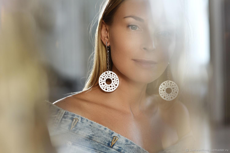 Long leather earrings Silver circles, Earrings, Nizhnij Tagil,  Фото №1