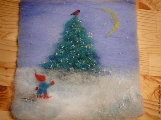 """Фантазийные сюжеты ручной работы. Ярмарка Мастеров - ручная работа. Купить 3-D картина """"Шерстяная Сказка"""" ... про Рождество!. Handmade."""