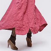 Одежда ручной работы. Ярмарка Мастеров - ручная работа Льняное бохо платье 4-15 брусничный. Handmade.