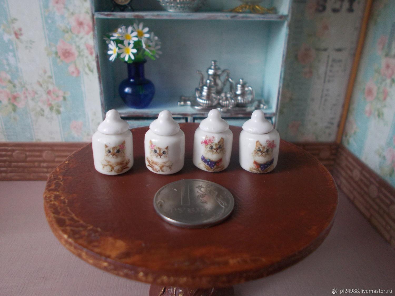 Кукольная посуда, набор баночек для хранения, миниатюра, Аксессуары для кукол и игрушек, Псков,  Фото №1