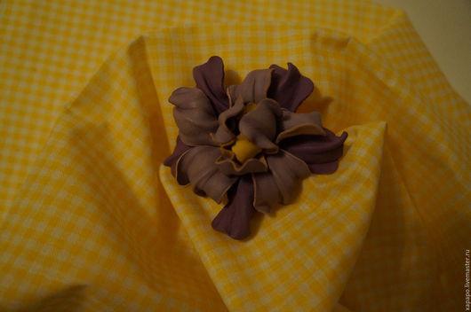 Броши ручной работы. Ярмарка Мастеров - ручная работа. Купить Цветок из кожи. Handmade. Сиреневый, цветок брошь, цветок