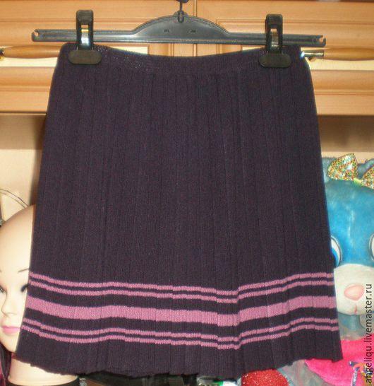 Одежда для девочек, ручной работы. Ярмарка Мастеров - ручная работа. Купить Юбка плиссе фиолетовая. Handmade. Тёмно-фиолетовый, полоски