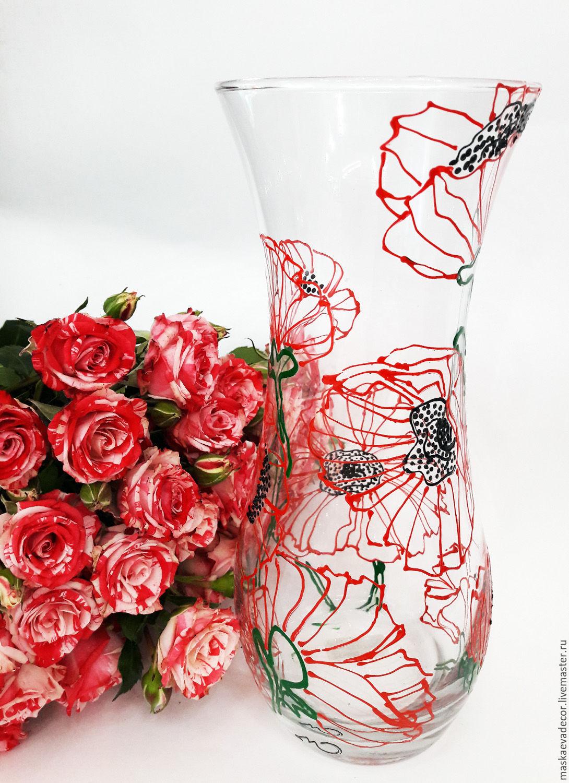 ваза для цветов с росписью Маки, Вазы, Москва,  Фото №1