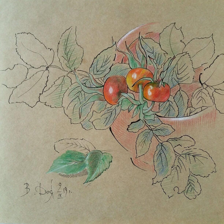 Авторская картина в смешанной технике Шиповник в чаше, Картины, Нефтеюганск, Фото №1
