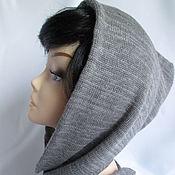 Аксессуары handmade. Livemaster - original item Hood with a short scarf grey melange Merino. Handmade.