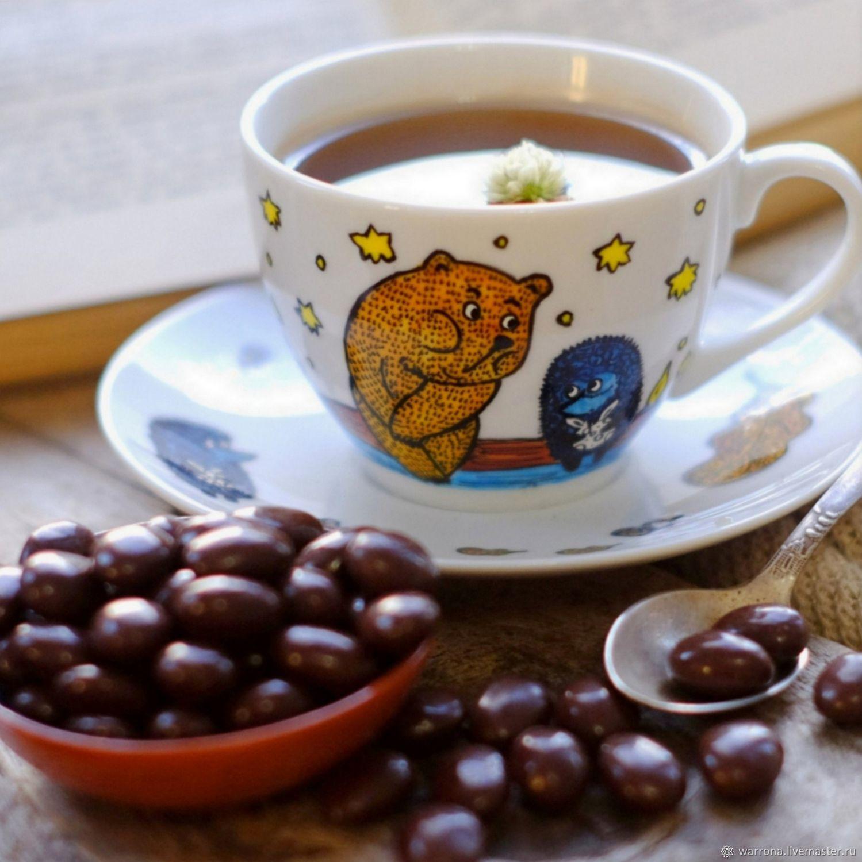 Сервизы, чайные пары ручной работы. Ярмарка Мастеров - ручная работа. Купить Чашка с блюдцем Ежик в тумане, ручная роспись. Handmade.
