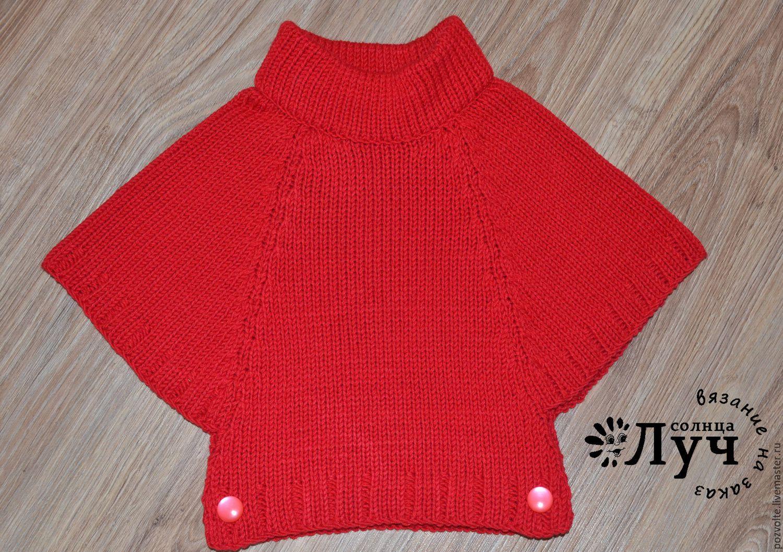 Вязание спицами пончо для девочек 3-5 лет 10