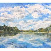 Картины и панно ручной работы. Ярмарка Мастеров - ручная работа Озеро на Валдае. Handmade.
