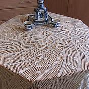 Для дома и интерьера ручной работы. Ярмарка Мастеров - ручная работа Скатерть вязаная крючком круглая бежевая. Handmade.