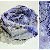 Аксессуары ручной работы. Ярмарка Мастеров - ручная работа шарф валяный серо-сиреневый. Handmade.