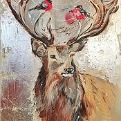 Картины и панно handmade. Livemaster - original item Silver deer, painting on canvas, interior painting. Handmade.