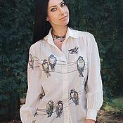 """Одежда handmade. Livemaster - original item Уникальная блуза """"Птицы на проводах"""" блуза с вышивкой и росписью. Handmade."""