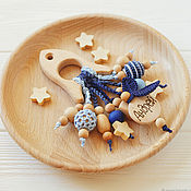 Одежда handmade. Livemaster - original item Teething toy-rocket with the name of your kid) Blue jeans. Handmade.