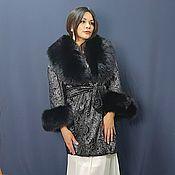 handmade. Livemaster - original item Velvet coat with black arctic fox. Handmade.