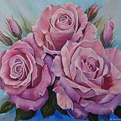Картины и панно handmade. Livemaster - original item Painting with roses 50 shades of purple roses oil. Handmade.
