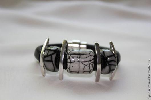 Браслеты ручной работы. Ярмарка Мастеров - ручная работа. Купить браслет Вены дракона. Handmade. Чёрно-белый, кожаный шнур