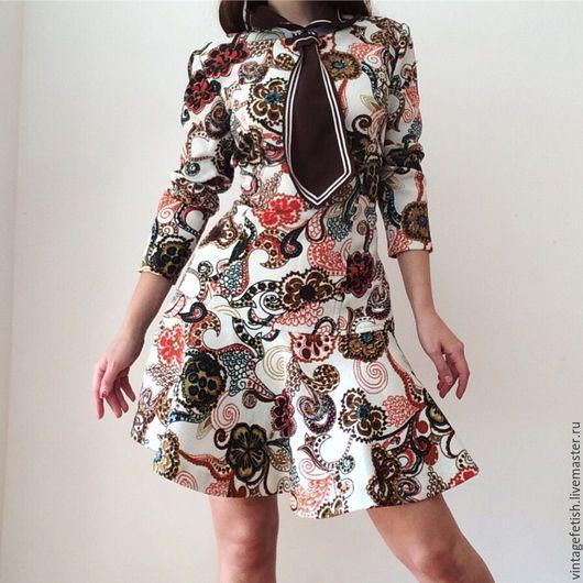 Одежда. Ярмарка Мастеров - ручная работа. Купить Винтажное платье 1970'х годов с галстуком. Handmade. 1970-е, галстук