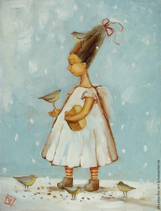 Фантазийные сюжеты ручной работы. Ярмарка Мастеров - ручная работа. Купить Ангел и птички-синички.Картина маслом. Handmade. Голубой
