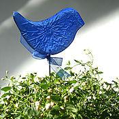 """Цветы и флористика ручной работы. Ярмарка Мастеров - ручная работа """"Синяя птица"""" декор для цветочных горшков, фьюзинг. Handmade."""