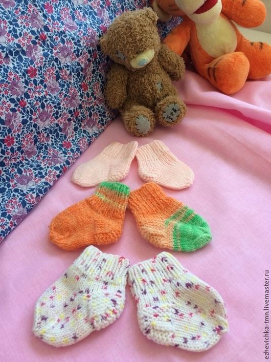 Для новорожденных, ручной работы. Ярмарка Мастеров - ручная работа. Купить Пинетки, носочки от 100 рублей. Handmade. Разноцветный