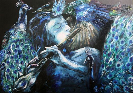 """Абстракция ручной работы. Ярмарка Мастеров - ручная работа. Купить картина маслом """"Танец Говинды"""". Handmade. Синий, картина маслом"""