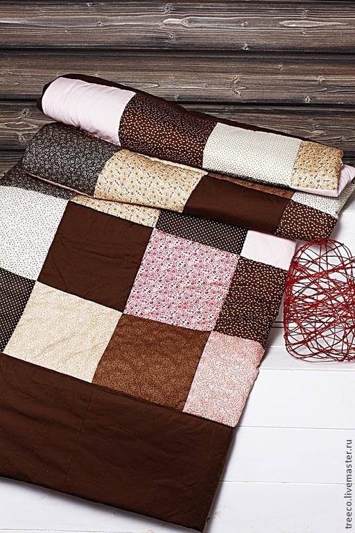 Текстиль, ковры ручной работы. Ярмарка Мастеров - ручная работа. Купить Большое воздушное лоскутное одеяло. Handmade. Коричневый