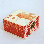 Для дома и интерьера ручной работы. Ярмарка Мастеров - ручная работа Шкатулка Мишка с бабочками. Handmade.