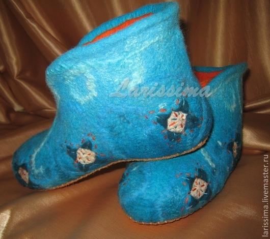 Обувь ручной работы. Ярмарка Мастеров - ручная работа. Купить Ботинки домашние. Handmade. Голубой, Тапочки ручной работы