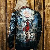 Мужская одежда handmade. Livemaster - original item Biker jacket with print. The pattern on the jacket. Leather jackets for men. Handmade.