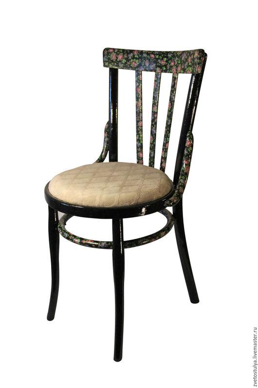"""Мебель ручной работы. Ярмарка Мастеров - ручная работа. Купить Стул """"Вильветта"""". Handmade. Черный, декупажные материалы, цветочки, лак"""