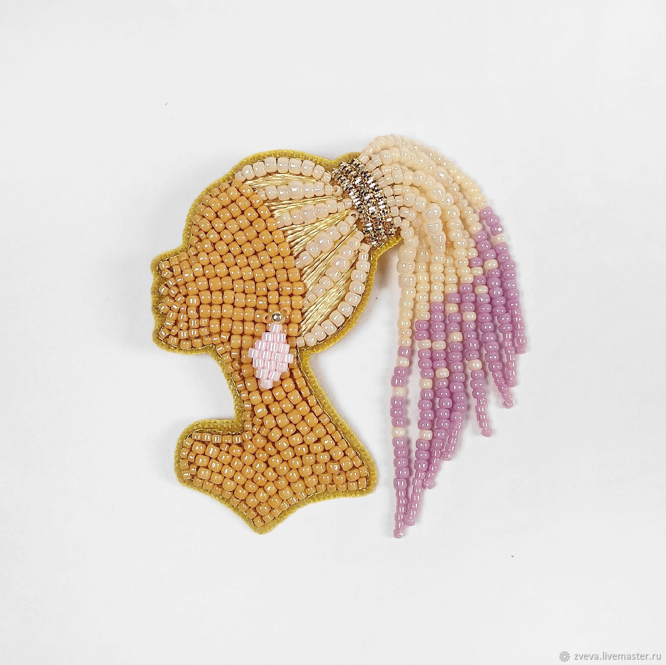 Beaded brooch blonde Girl with braids, girl with dreadlocks, Brooches, Smolensk,  Фото №1