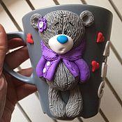 Подарки к праздникам ручной работы. Ярмарка Мастеров - ручная работа Кружка с Тедди в курточке. Handmade.