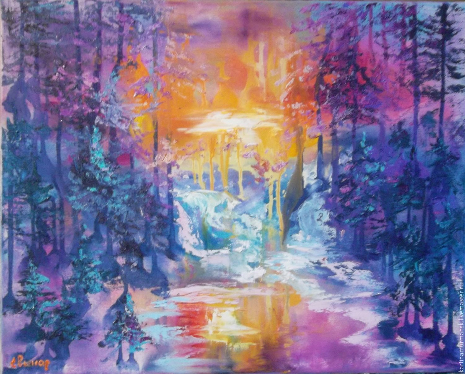 Oil painting abstract 40/50 ' Forest dreamed-3', Pictures, Murmansk,  Фото №1