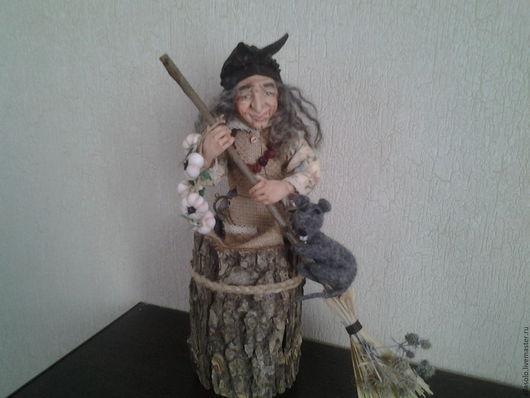 Коллекционные куклы ручной работы. Ярмарка Мастеров - ручная работа. Купить Баба Яга в ступе. Handmade. Коричневый, фантазийный сюжет