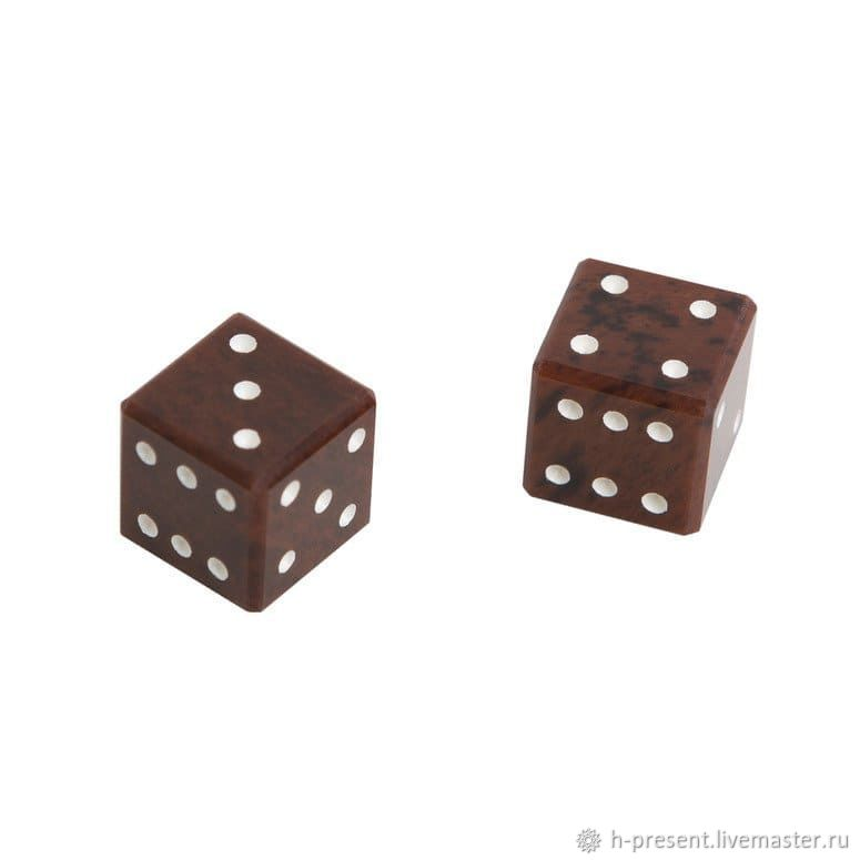 Brown obsidian dice, 10 mm (2 pcs), Harutyunyan, Chips and dice, St. Petersburg,  Фото №1