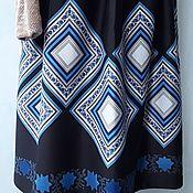 """Одежда ручной работы. Ярмарка Мастеров - ручная работа Юбка на резинке из джерси """"Мозаичные ромбы"""" черный, голубой, белый. Handmade."""