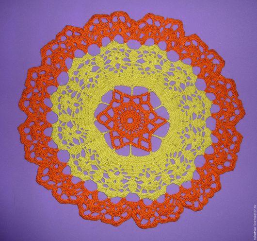 Текстиль, ковры ручной работы. Ярмарка Мастеров - ручная работа. Купить Оранжево-жёлтая салфетка. Handmade. Салфетка, цветная салфетка