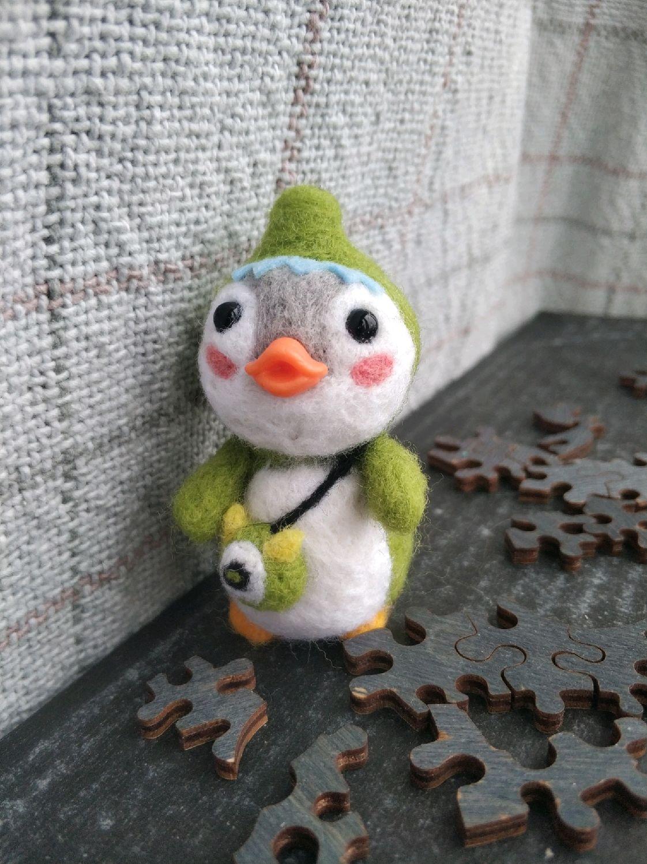 Милая игрушка из шерсти (утёнок в костюме крокодила), Войлочная игрушка, Екатеринбург,  Фото №1