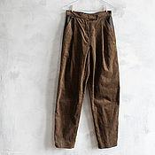 Одежда handmade. Livemaster - original item Pants corduroy and leather, corduroy jeans, pants-carrot. Handmade.