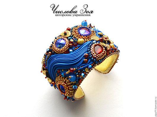 """Браслеты ручной работы. Ярмарка Мастеров - ручная работа. Купить браслет """"Королева ночи"""". Handmade. Синий, шибори лента, ярко"""