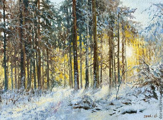 """Пейзаж ручной работы. Ярмарка Мастеров - ручная работа. Купить """"Солнечный лес"""". Handmade. Желтый, картина в подарок, картина для интерьера"""