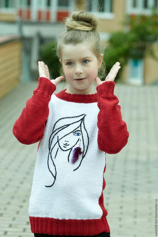 """Одежда для девочек, ручной работы. Ярмарка Мастеров - ручная работа. Купить Свитер """"девушка с сережкой"""". Handmade. Бордовый, белый, трикотаж"""