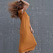 Одежда ручной работы. Ярмарка Мастеров - ручная работа Платье миди из трикотажа ГОРЧИЦА. Handmade.