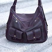 Сумки и аксессуары handmade. Livemaster - original item Massandra Leather Handbag-backpack Eggplant. Handmade.