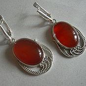 Украшения handmade. Livemaster - original item Earrings CARNELIAN,filigree 925 sterling silver.. Handmade.