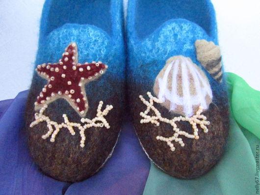 Обувь ручной работы. Ярмарка Мастеров - ручная работа. Купить Dream about sea... валяные тапочки. Handmade. Бирюзовый