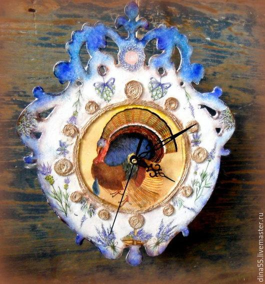 Часы для дома ручной работы. Ярмарка Мастеров - ручная работа. Купить Настенные часы в стиле кантри. Handmade. Синий